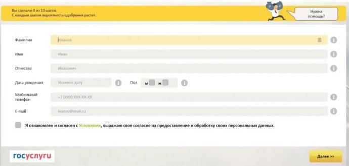 Пример заявки